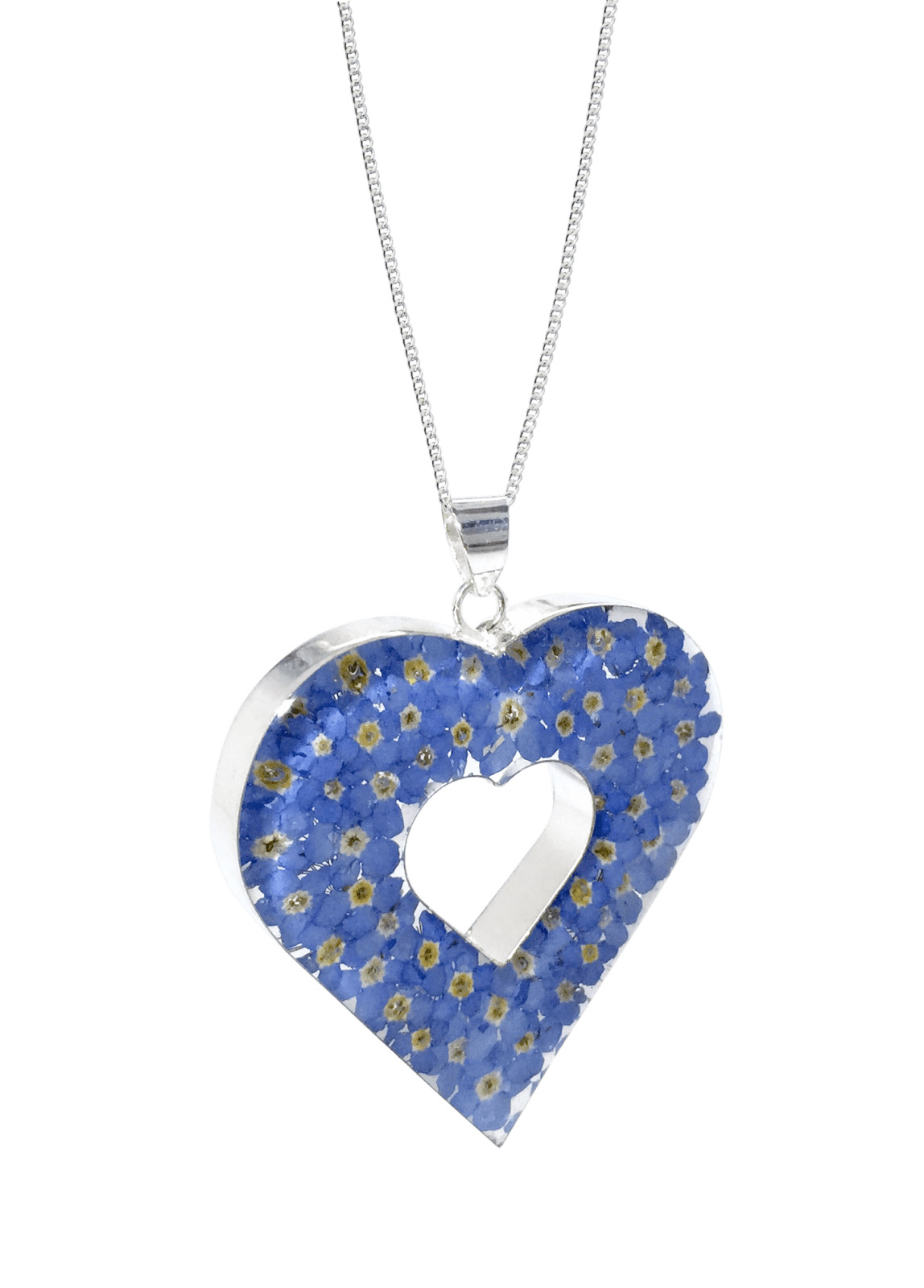 FORGET ME NOT NECKLACE – DOUBLE HEART – STERLING SILVER Funky FlowerJewellery