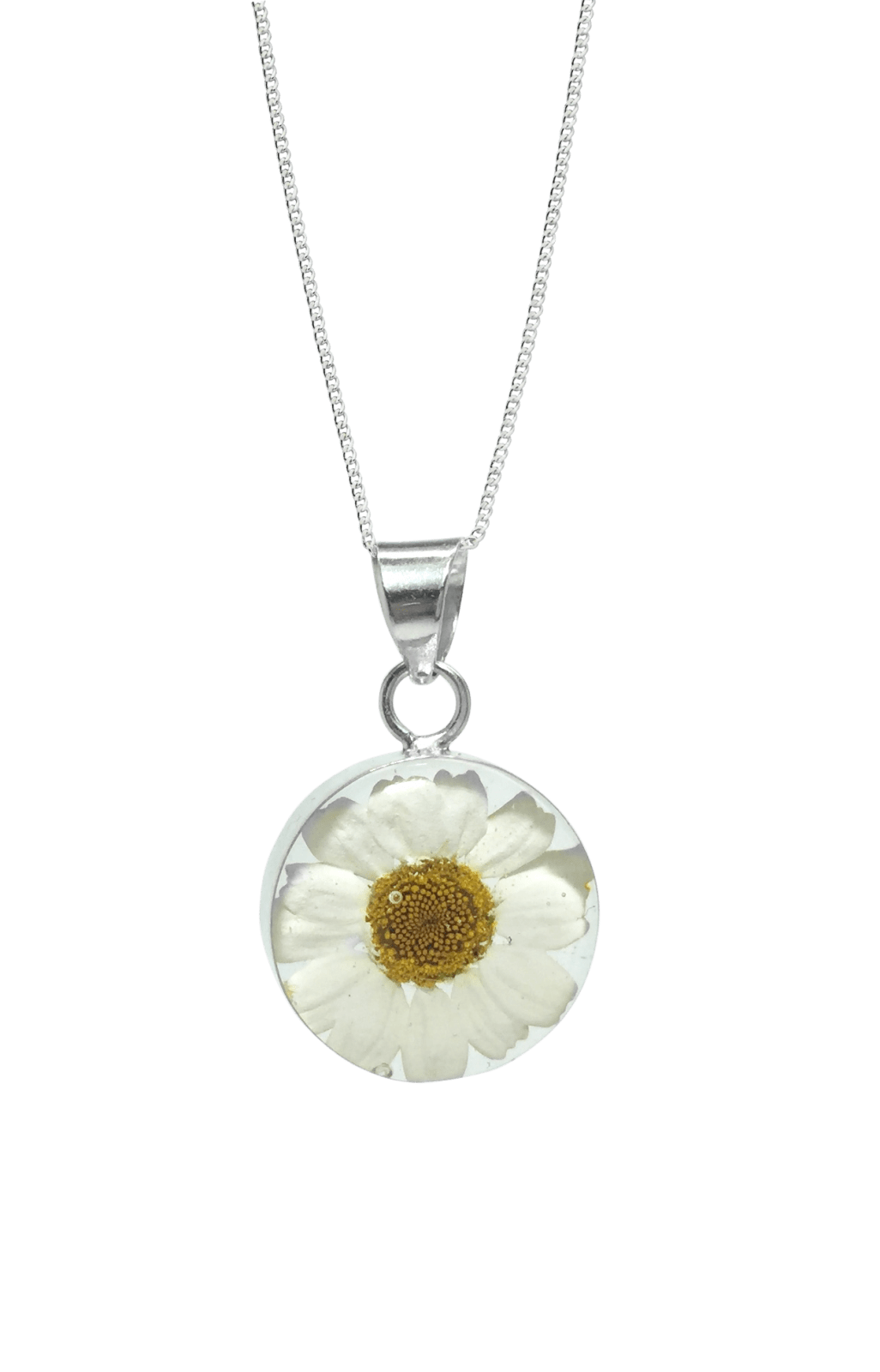Sterling Silver Daisy Necklace in Round Funky Flower Jewellery